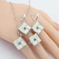 New Arrival Australian Fire White Opal Silver Color Jewelry Sets Women Earrings Necklace Pendant Ring Free Gift Box