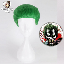 Suicide Squad The Joker Short Green Wig Cosplay Costume Short Hair Halloween Party Anime Wigs+Wig Cap