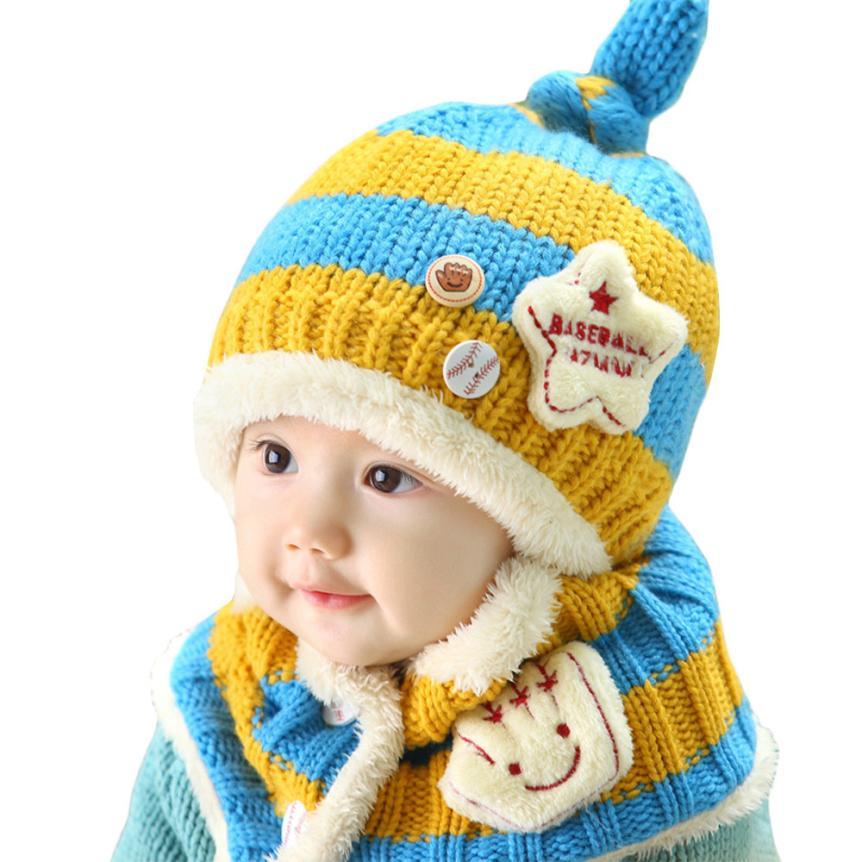 crochet knit baby set woolen caps for kids Cute Winter Baby Wool Hat Hooded  Scarf Earflap 5ba59ee2085d