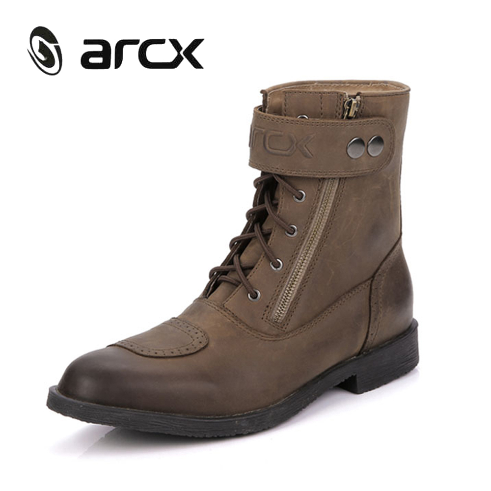 ARCX Cow Leather Motorcycle Boots Men Riding Ankle Boots Street Moto Motorbike Shoes Touring Biker Vintage Motorcycle Shoes arcx motorcycle boots off road racing shoes men leather moto boots motocross boots street moto touring riding motorcycle shoes