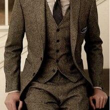 Latest Coat Pant Designs Brown Tweed Formal Custom Men Suits Winter 3 Pieces Sli