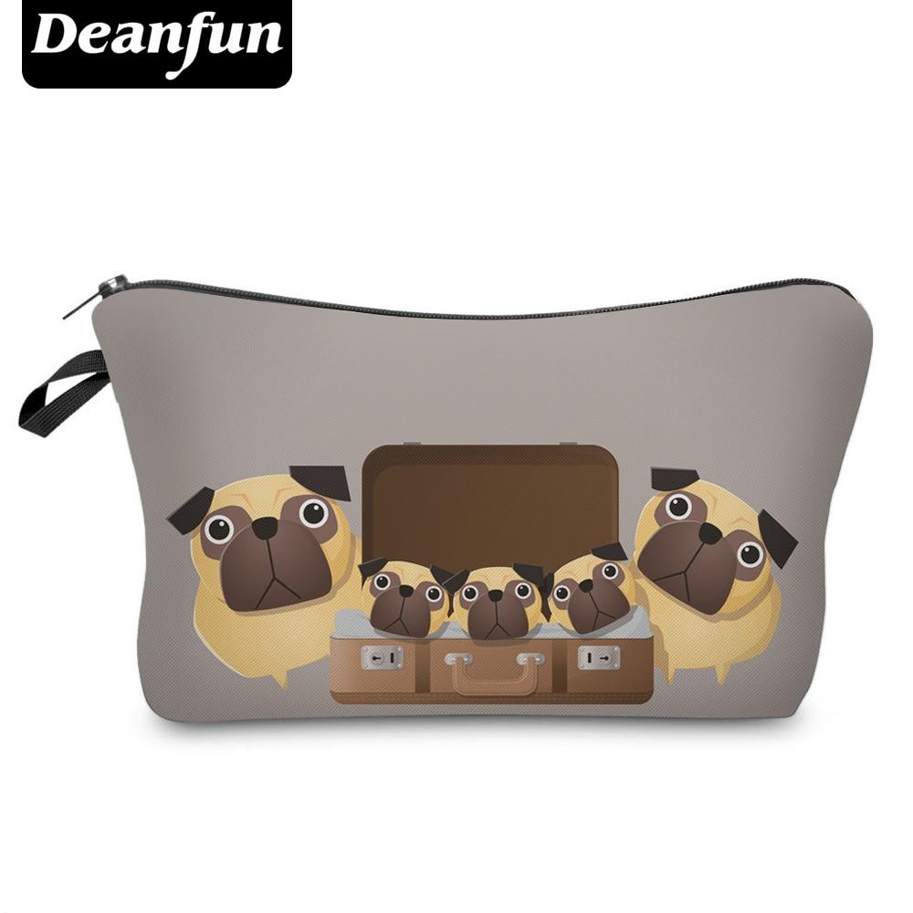 Deanfun 3D Printed Cosmetic Bags Cartoon Pug Cute For Women Toiletry Organizer With Zipper  50888