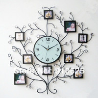 Ultralarge كتم الحديد الراين إطار الصورة ساعة الحائط أزياء ساعة حركة