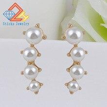 цены 2018 Fashion New Luxury Pearl Flower Stud Earrings for Women Statement Jewelry Brincos Wedding Party Gift