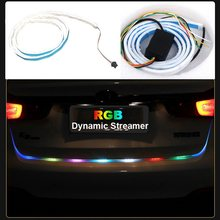 1set 120cm RGB flexible tube Flow light Rear Tail Box Lights Streamer Brake Turn Signal LED Lamp Strip Waterproof Accessories(China)