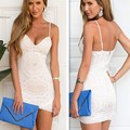 Novas mulheres sexy dress com decote em v pacote cinta lace dress backless bodycon mini dress