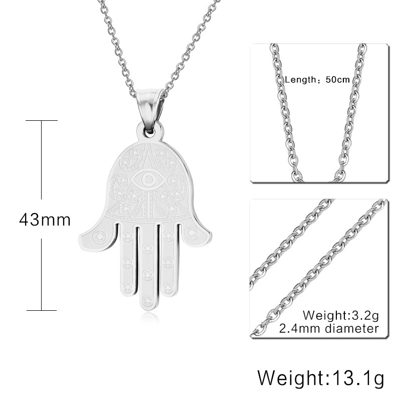 US $5 08 35% OFF Fashion Hand of Fatima Necklace Evil Eye Hamsa Pendant  Sagittarius Hand Type Amulet God of Luck Stainless Steel Amulet Jewelry-in