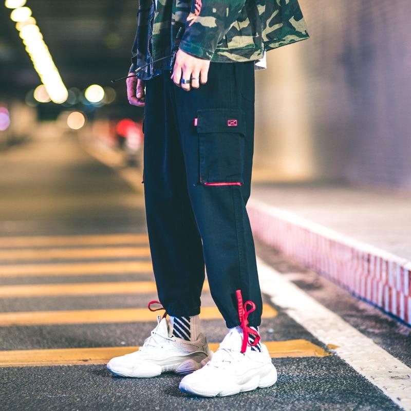 Americano Estilo Hombre Bolsillo Japonés De Hombres Gris Hip Gran Hop Camisetas Pantalones Elástica Negro Cintura Streetwear gray Moda Color OqSrO7