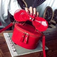 BARHEE Nuovo 2018 Bow Sling Bag per le Ragazze Le Donne Box Flap Borse a tracolla In Vernice Borsa Femminile Sacchetti di Mano Delle Signore Rosso Nero