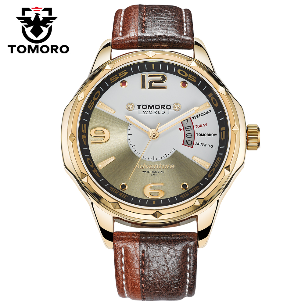 TOMORO 0214 Lovers Brand New Stylish Relogio Calendar Dual Colors Leather Man Quartz Casual Dress Gift Ladies Hours Clock Watch  tomoro new casual watch women fashion dress watches colors genuine leather quartz wristwatch for men relogio masculino love 0214