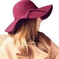 100% lana 2016 del verano nuevas para mujer mujeres de Fedora Beach Sun sombreros Floppy grande ancho Brim Cloche Bowler gorro de lana pura