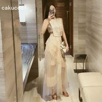 Cakucool New Dress Women Summer Fairy Voile Ball Gown Long Vestido Sleeveless Hollow Out Embroid Korean Festival Dresses apricot