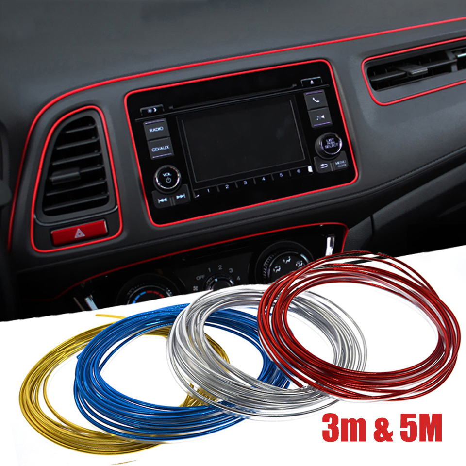3m 5m car door dashboard air outlet steering wheel interior flexible strips decoration line. Black Bedroom Furniture Sets. Home Design Ideas