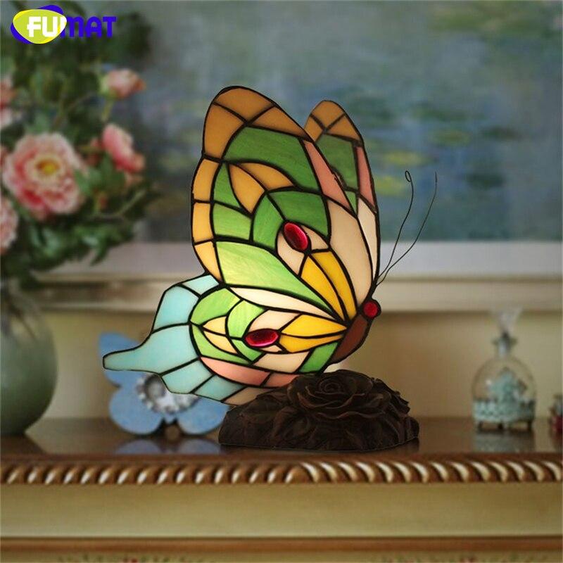 FUMAT Butterfly Table Lamp Creative Art Glass Desk Lamp Vintage Living Room Bedroom Bedside Night Light Decor Light Fixtures мартиросова м мифы народов мира для детей
