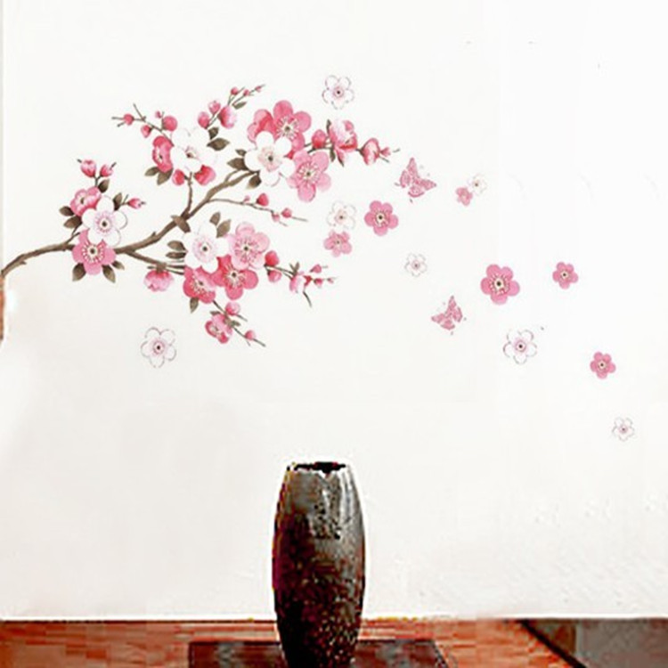 The new three generations of transferable PVC transparent film decorative wall stickers home wall stickers peach 45 * 60cm
