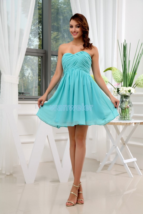 free shipping modest 2017 new short sex aqua green formales chiffon plus size sweetheart trumpet bridal   dress     Bridesmaid     Dresses