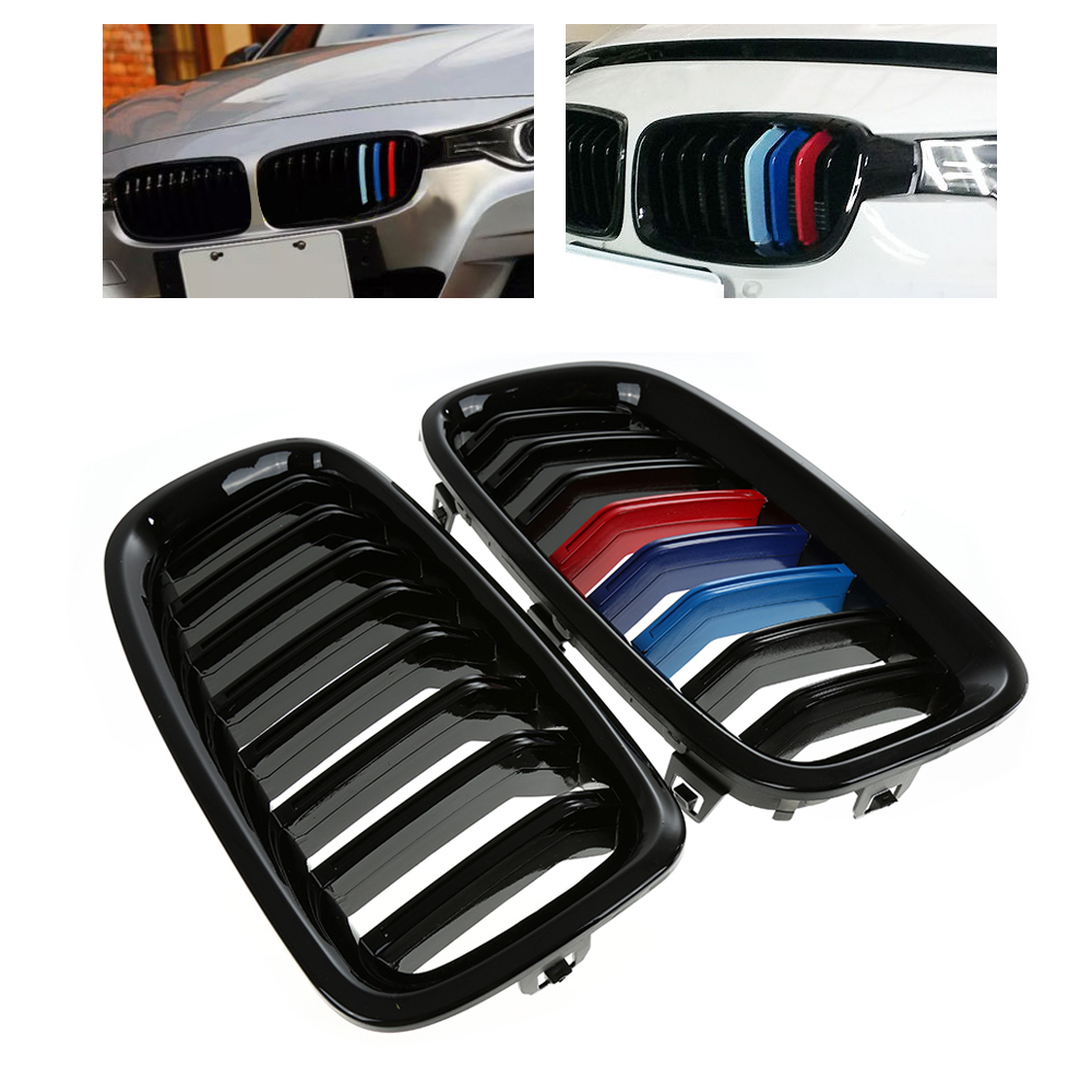 Glossy black M Color Racing Grills For BMW F30 F31 Front Kidney Grille Grill 328i 316d 318d Churrasqueiras de corrida