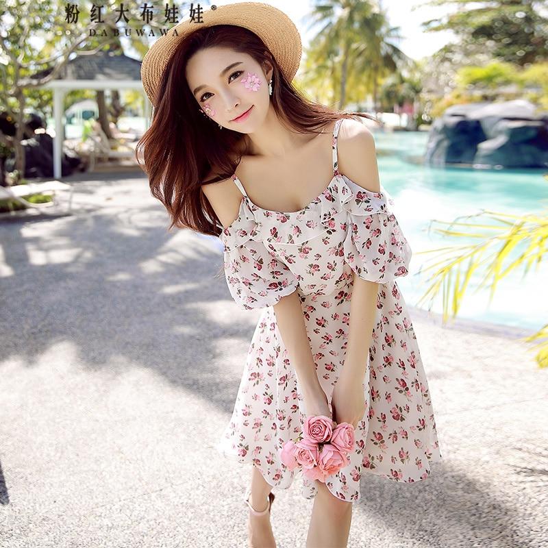 original 2018 brand vestidos summer off the shoulder fashion slash neck sweet floral dress women wholesale women s casual slash neck off shoulder striped mini dress