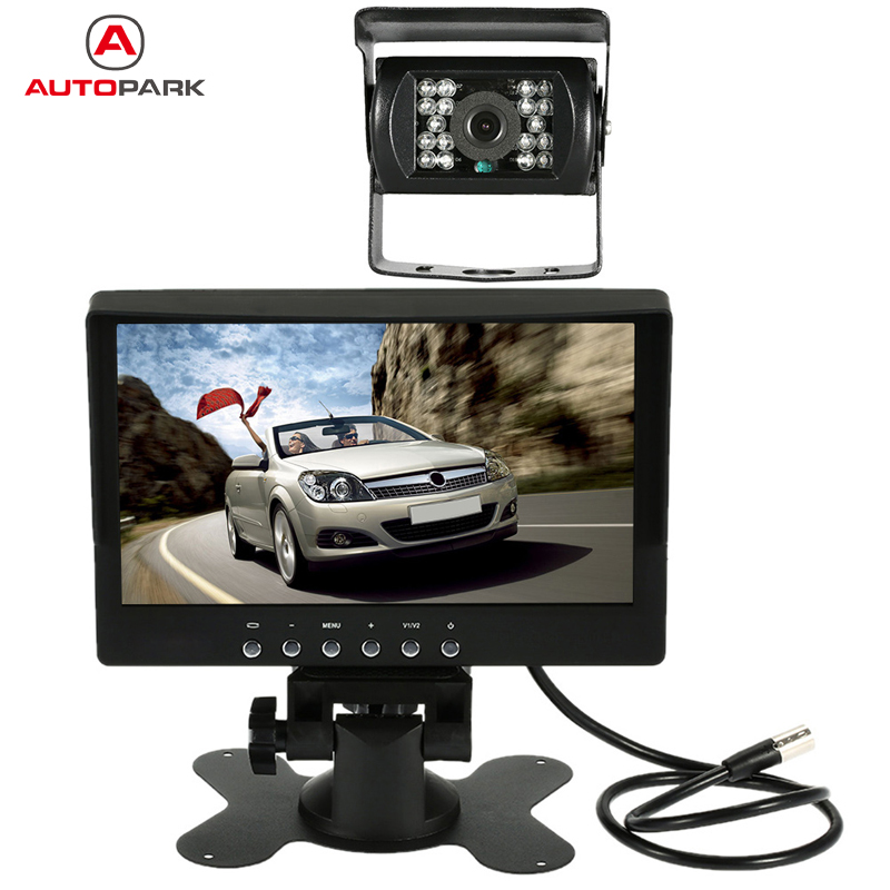 7 Inch Large TFT LCD Monitor Wireless Video Transmit Car Rear View Backup Reverse System for Lorry with LED Night Vision Camera fashion 3 5 inch tft lcd monitor for rear view system cctv monitor
