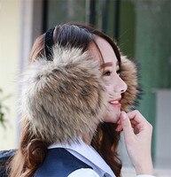 Moda ciepłe futrzane nauszniki ucha pokrywa duże futro szopa rzeczywistym pakietów ucha można regulować zima kobiet prawdziwe futro nauszniki