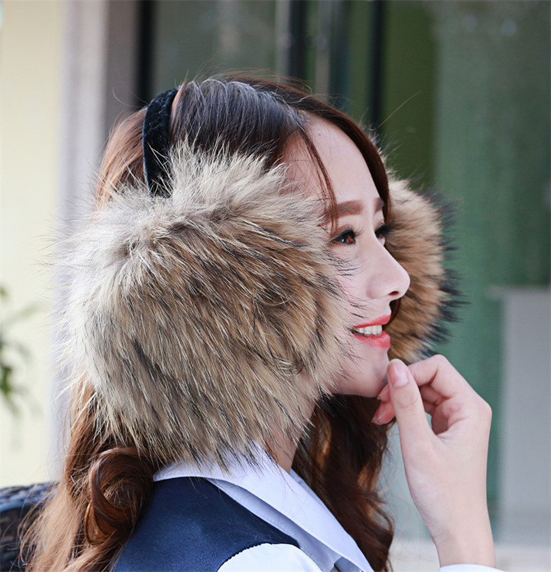 Fashion Warm Fur Earmuffs Ear Cover Large Real Raccoon Fur Ear Package Earmuffs Can Be Adjusted Winter Female Real Fur Earmuffs