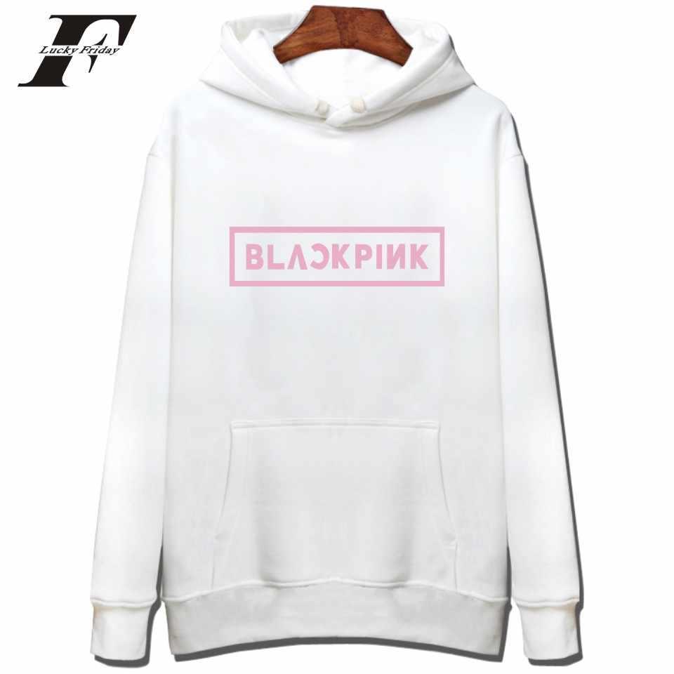 Sudadera Coreana Popular Con Capucha De Color Rosa Negro Con Capucha De Algodón Para Mujer Moda De Invierno Hip Hop Sudaderas Largas Casual Kpop Negro