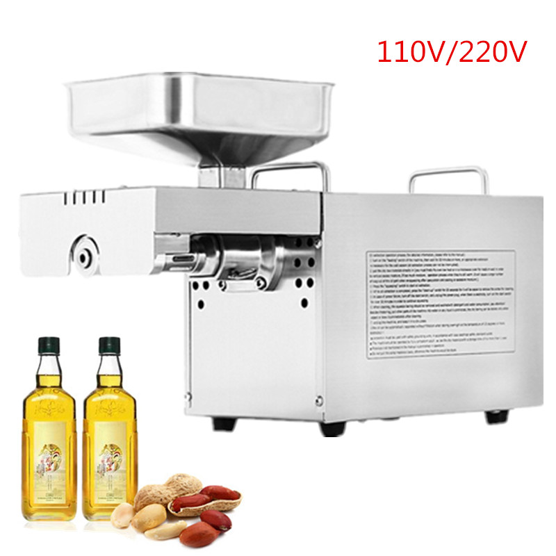 Full Automatic Stainless Steel Seed Oil Extraction Machine, Cold Oil Press, Oil Expeller, Mini Walnut Oil Press Machine For Home 110v 220v commercial oil press machine for sale mini oil expeller seed oil extraction machine coconut almond sesame