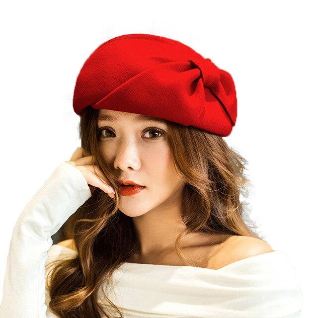 5cd9baccf8af9 ... FS Winter Ladies Fashion French Beret Hat For Women Australia Wool Black  Felt Fedora Female Bow ...