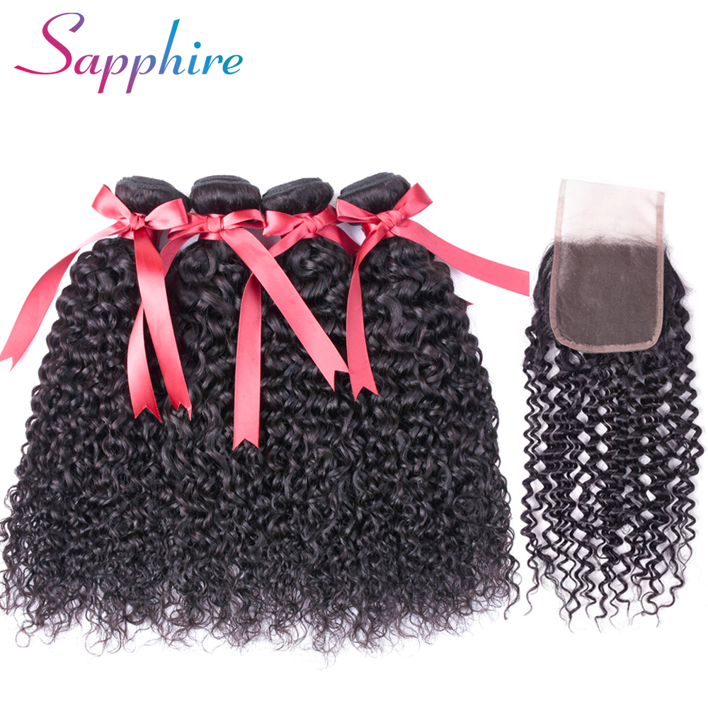 SAPPHIRE Hair Kinky Curly Weave Human Hair Bundles with Lace Closure Non-remy Brazilian Human Hair Weave 3 Bundles with Closure