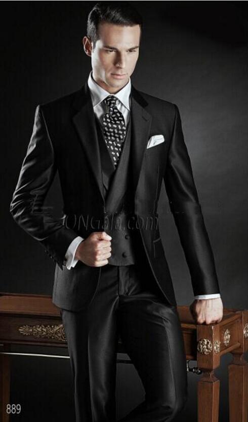 New Arrival Custom Made Groom Tuxedos Shiny Black Best Man Notch Lapel Groomsman Men Wedding Suits Bridegroom(Jacket+Pants+Tie+V