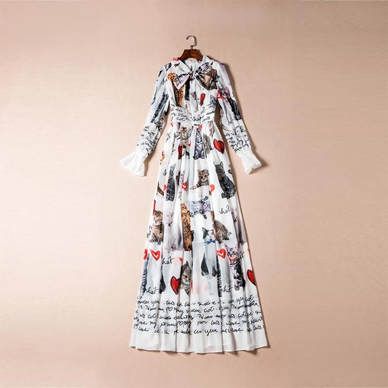 New 2017 Summer Fashion Elegant Print Bow Collar Long Flare Sleeve Floor Length Cat & Heart White Long Dress Vintage Bohemian - 3