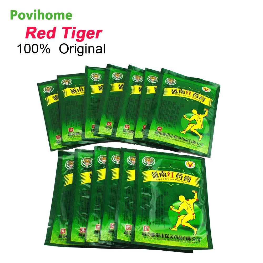 Povihome 104pcs Vietnam Red Tiger Balm Plaster Creams White Body Neck Back Massager Pain Relief Patch Arthritis Cervical C162 sumifun 100% original 19 4g red white tiger balm ointment thailand painkiller ointment muscle pain relief ointment soothe itch