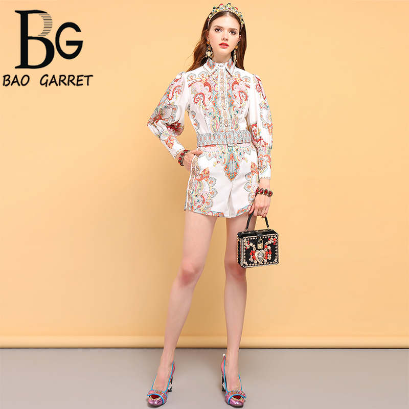 Baogarret Summer Holiday Women 39 s Suits Lantern Sleeve Vintage Floral Printed Shirt and Belted Mini Short 2 Pieces Sets in Women 39 s Sets from Women 39 s Clothing