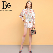 Baogarret Summer Holiday Womens Suits Lantern Sleeve Vintage Floral Printed Shirt and Belted Mini Short 2 Pieces Sets