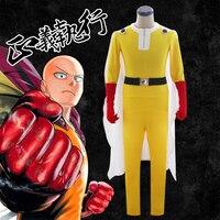 Halloween adult cos One Punch Man Saitama Cosplay Costume Set jumpsuit super man costumes