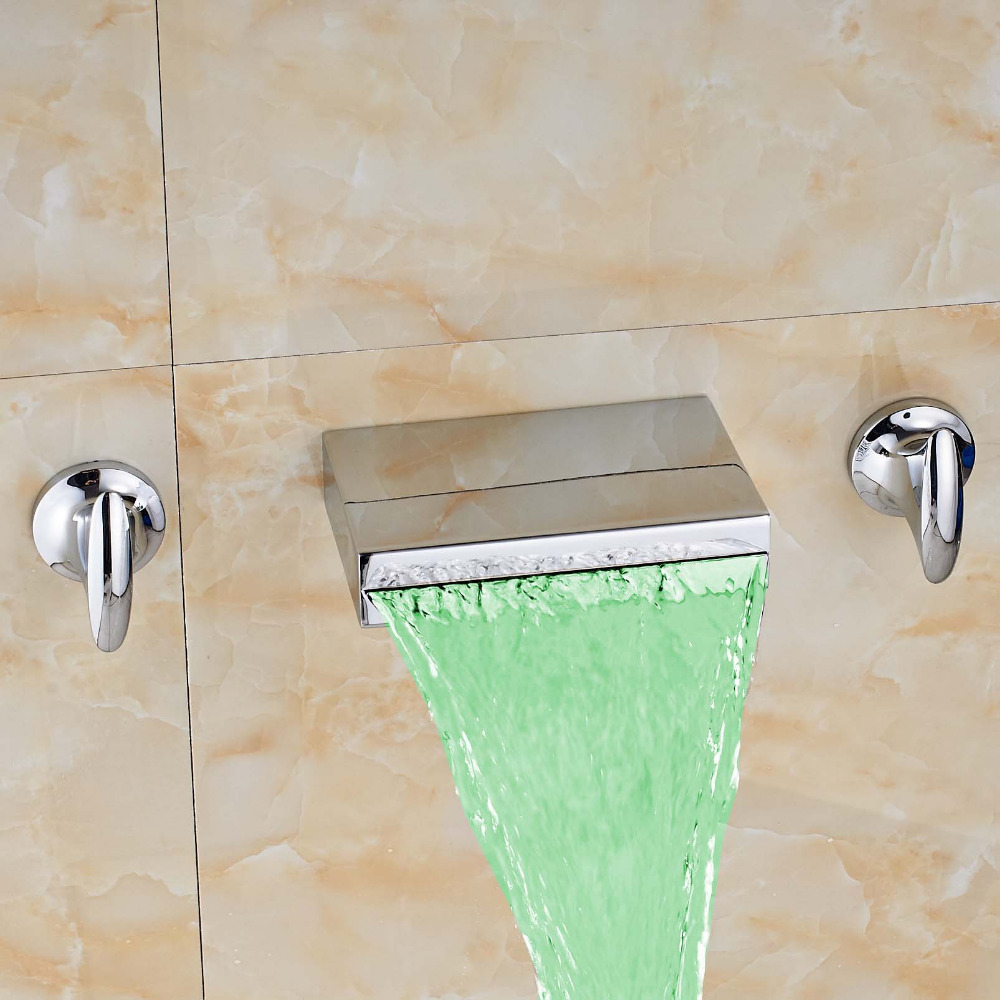 Dual Handles Three Holes Widespread Waterfall Bathroom LED Color Changing Tub Faucet Square Spout Mixer Tap Faucet free shipping golden finish led color changing bathroom tub faucet widespread spout mixer tap