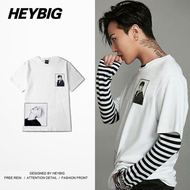 d86fb8a9d30 Tattoo Men Printed Tee Korean Fashion GD HIP HOP Rapper shirts White T- shirts Short