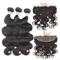 Body Wave Human Hair Bundles with Transparent Lace Frontal Brazilian Remy Hair Weave Hair Extensions Frontal Natural Color