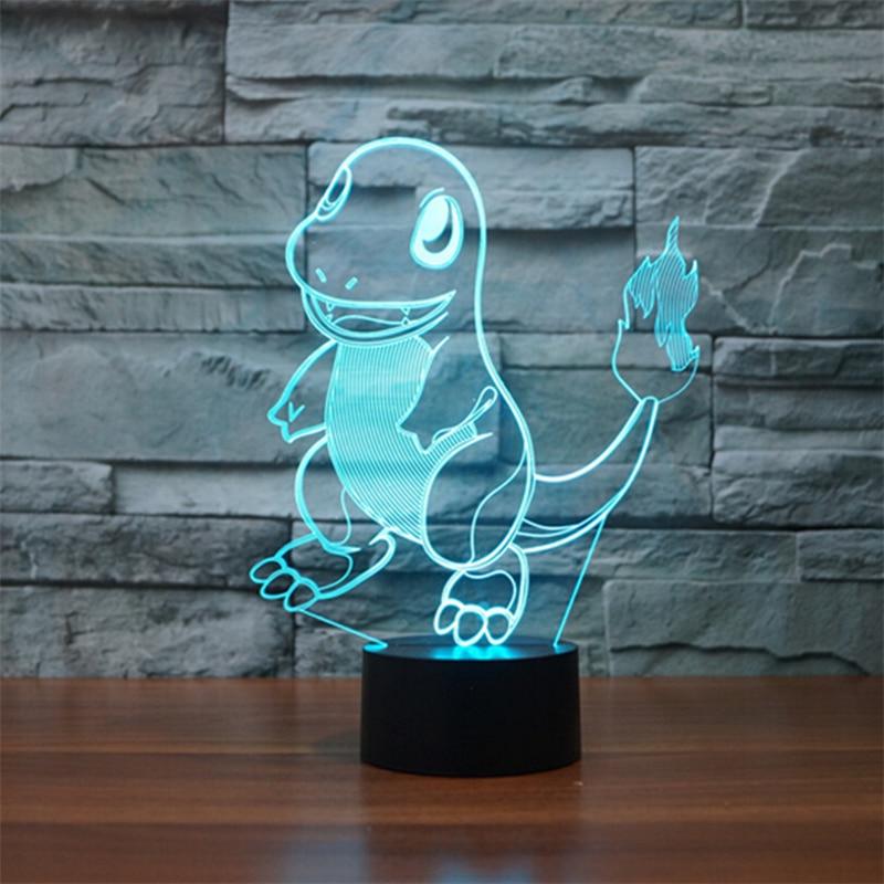 Novelty Mega Pokemon Go Charmander Lamp Night Light 3D Touch Table lamp Pikachu 7 Color 3D NightLights For Kids Gift Lampara spider man 3d table lamp 7 color led night light kids desk lamp for baby sleeping bedroom lampara nightlights luminaria de mesa
