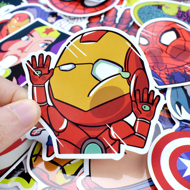 50 PCS Mixed Funny Anime Super Hero Stickers For Laptop Skateboard Etc. 2