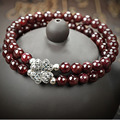 New style Fashion Jewelry Charm Cuff Clover 6MM Natural Garnet Bracelets & Bangles for Women and Girls Best Gift Friend 40351