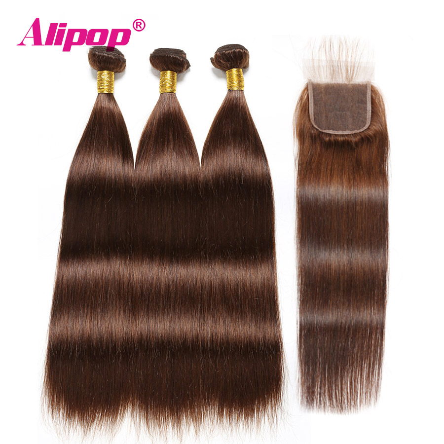 Colored Bundles With Closure Straight Hair 4 Light Brown Peruvian Human Hair 3 Bundles With Closure