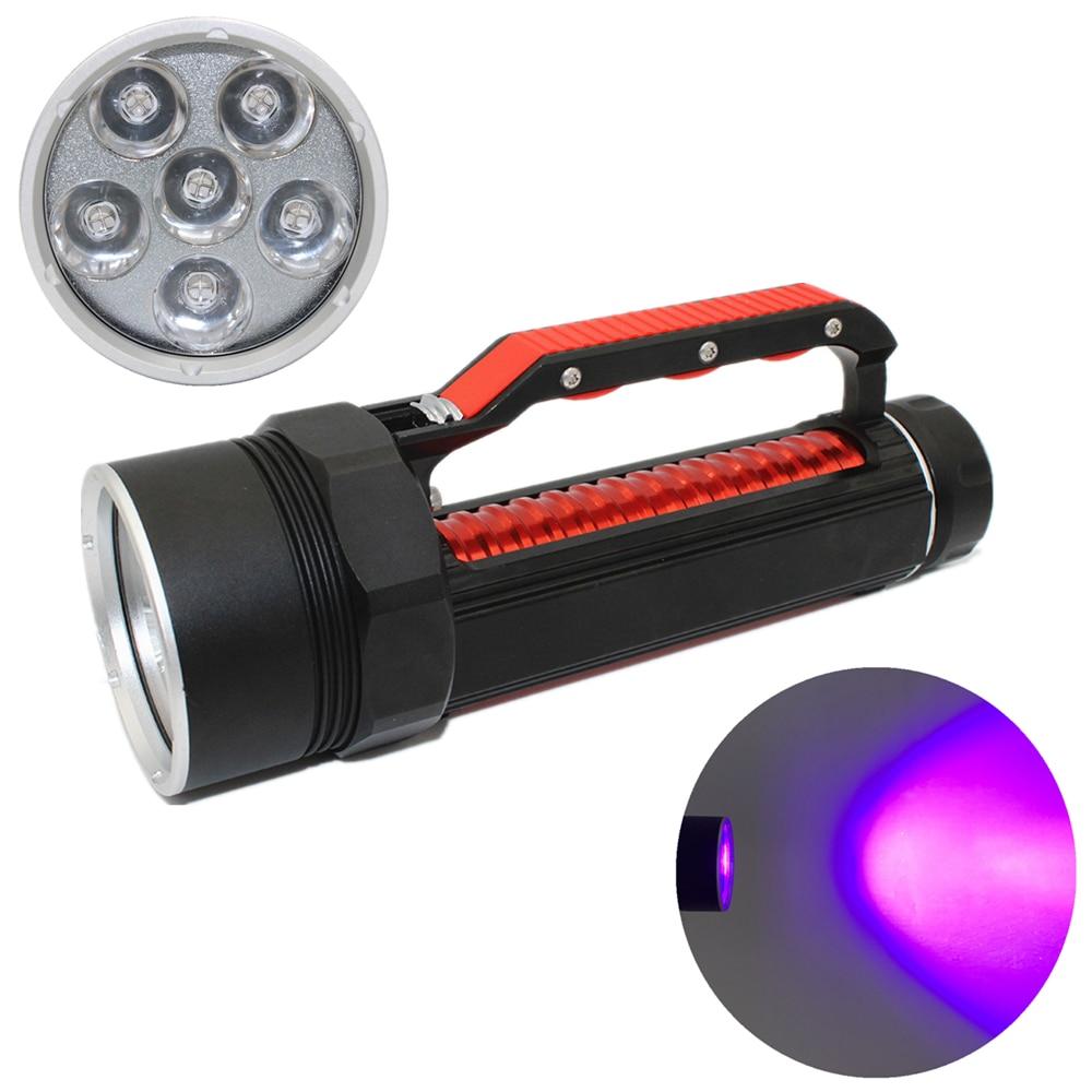 LED diving flashlight UV light 6 UV LED 1800 lumens Waterproof underwater scuba torch for find