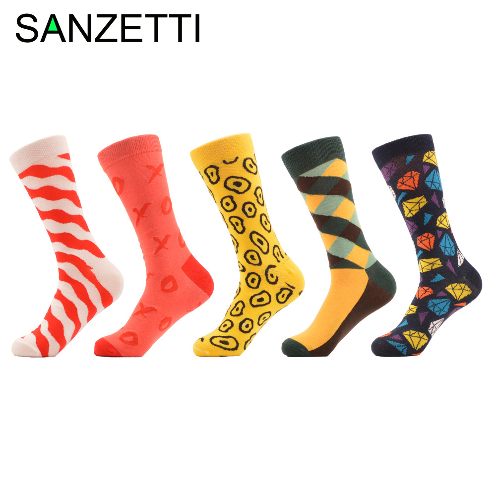SANZETTI 5 pairs/lot Funny Mens Novel Combed Cotton Socks Colorful Circle Diamond Casual Male Crew Business Wedding Socks Gift