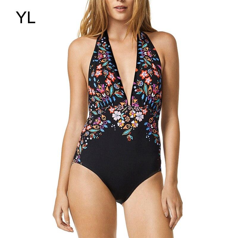 New stampato bikini costume da bagno sexy costumi da bagno di un pezzo costume da bagno delle donne vestito donne biquini 2018 tankini push up taglia spiaggia set ragazze