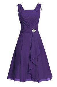 Image 3 - Waulizane 우아한 쉬폰 a 라인 댄스 파티 드레스 지퍼 민소매 공식 드레스 16 색상 사용 가능한 세관 만든 일반 슬리브