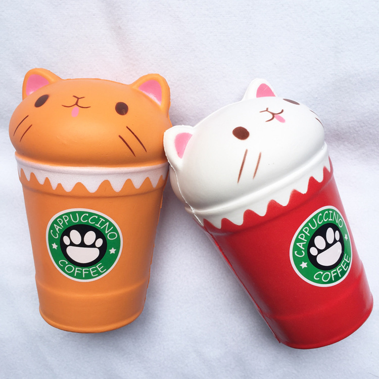 1PCS Squish Antistress Kawaii Squishies Slow Rising Jumbo Scented Cappuccino Coffee Cup Cat Funny Toys Squeezing Toy