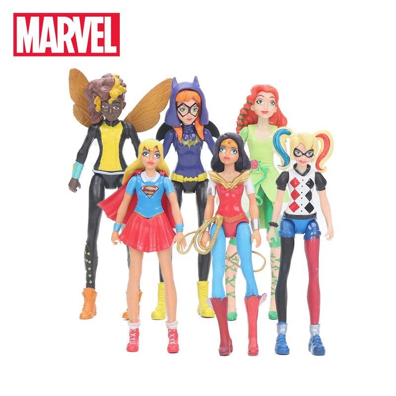 6pcs/set 15cm Marvel Toys Super Hero Girls Figure Set Wonder Woman Batgirl Poison Ivy Bumble Bee Harley Quinn Pvc Action Figures