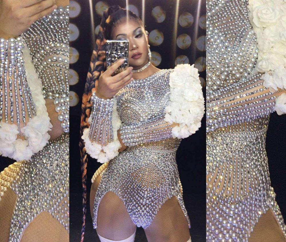 Pole Dancing Women Stretch Skinny Jumpsuits Nightclub Style Dancer Costumes Sexy Mesh Catsuits Shining Women Rhinestones Clothes