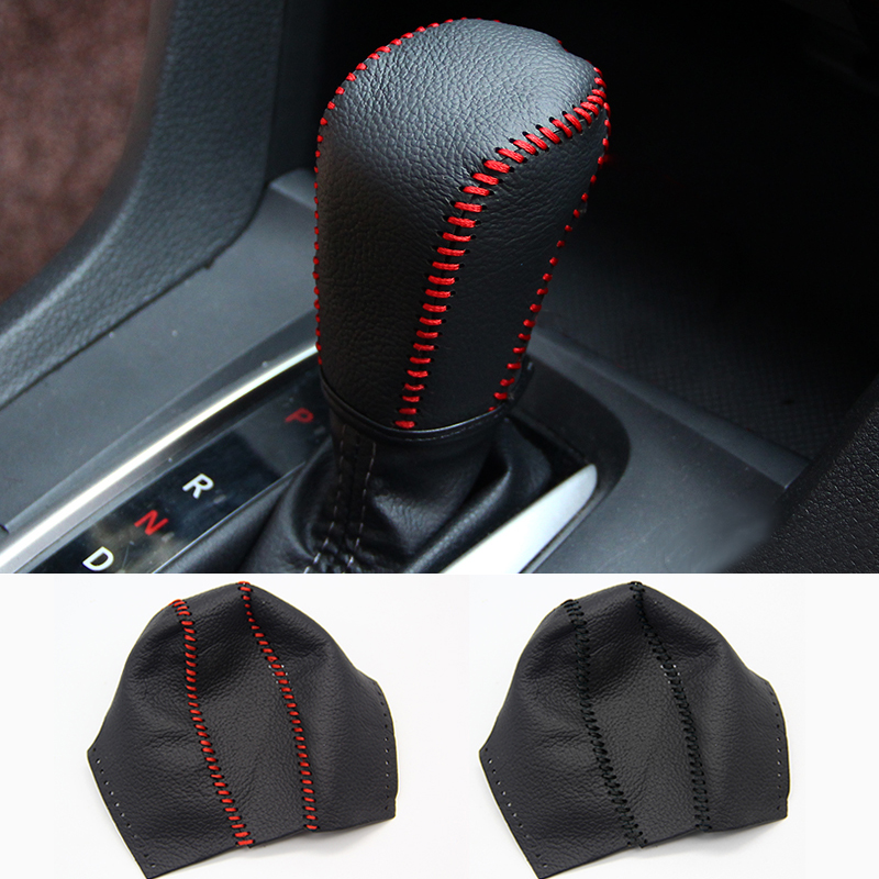 Genuine Leather Covers For Honda Civic 10th 2016 2017 2018 AT Car Gear Head Shift Knob Cover Gear Shift Collars Case Accessories cool skull style resin car gear shift knob blue